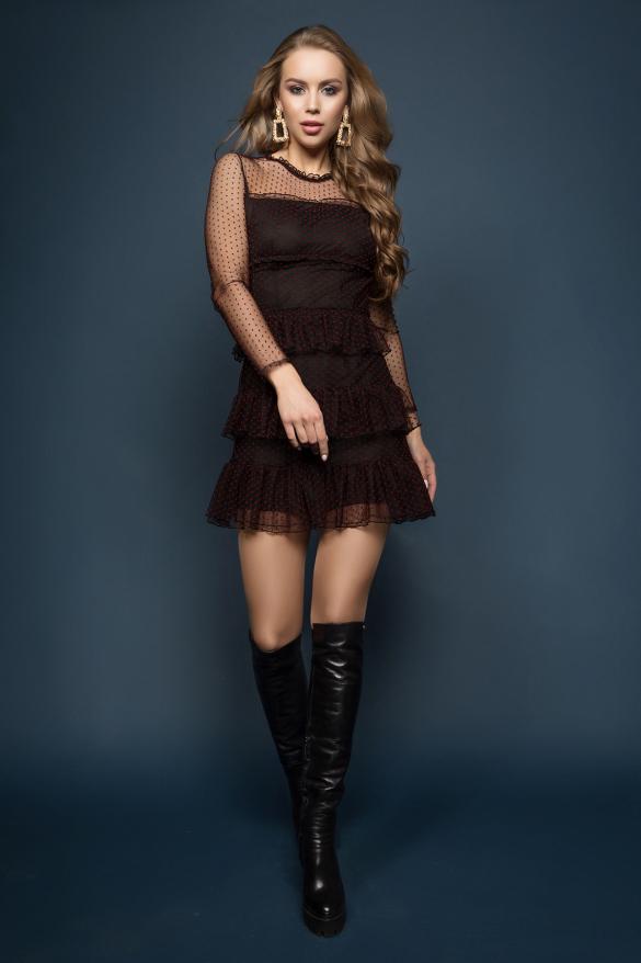 Сукня Мірей чорне в червоний горошок