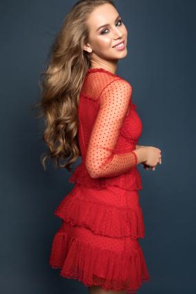 Платье Мирей  красный 1873
