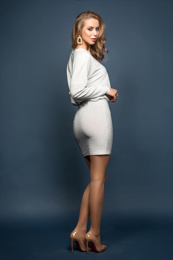 Платье Милена серебристый