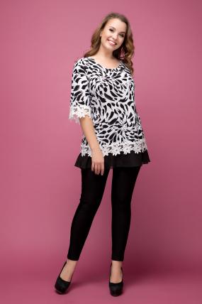 Блуза Рита черно-белый