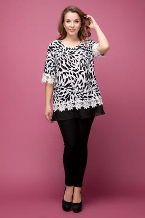 Блуза Рита чорно-білий 1970