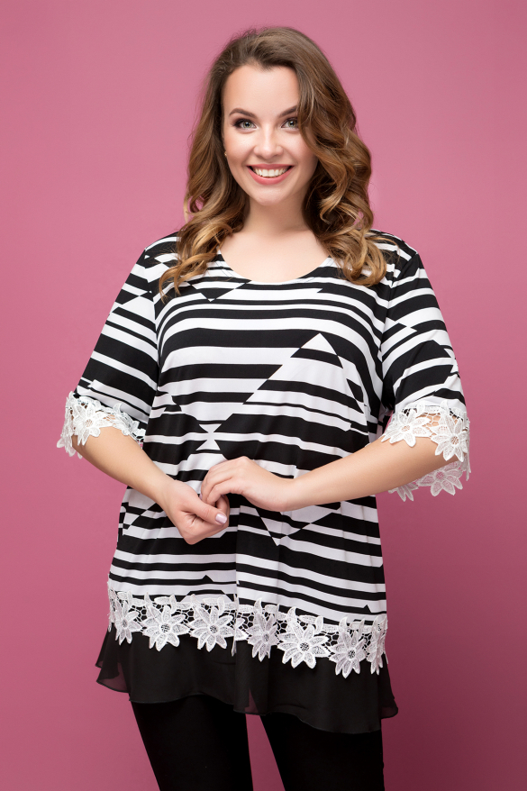 Блуза Рита чорно-білий