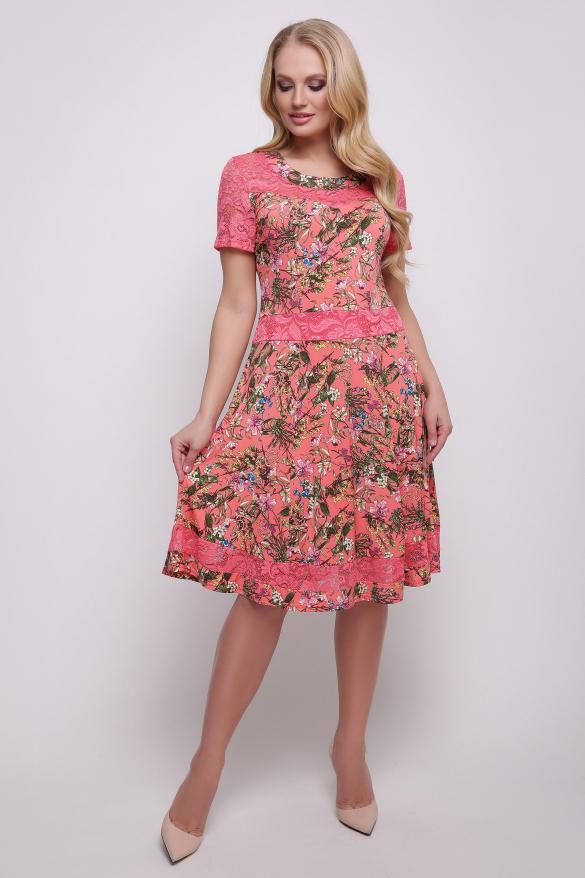 Платье коралловое Кабаре
