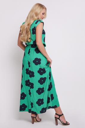 Платье зелёное цветы Гербера 2081