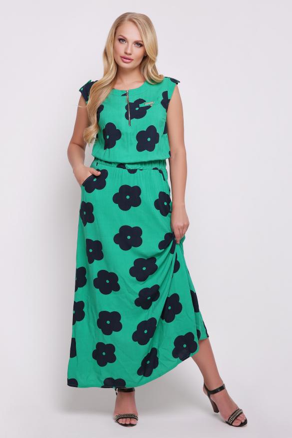 Платье зелёное цветы Гербера