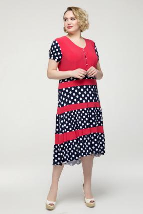 Платье коралловое Вишня 2143