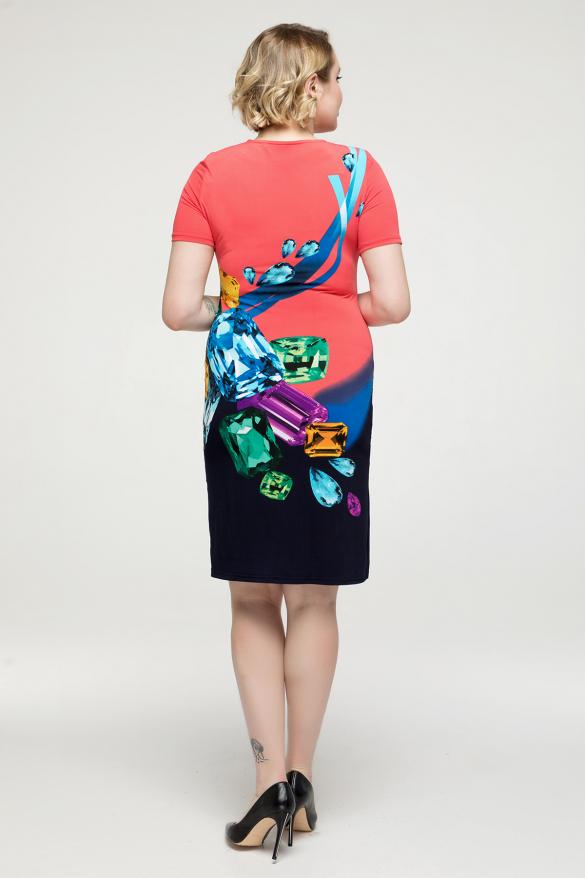 Платье коралловое Бриллиант