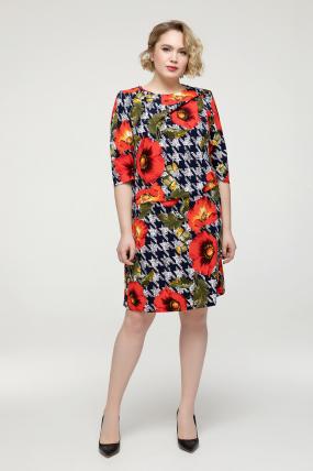 Платье красное цветы Бриллиант 2159