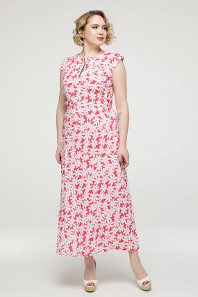 Платье коралловое цветы Гербера 2160