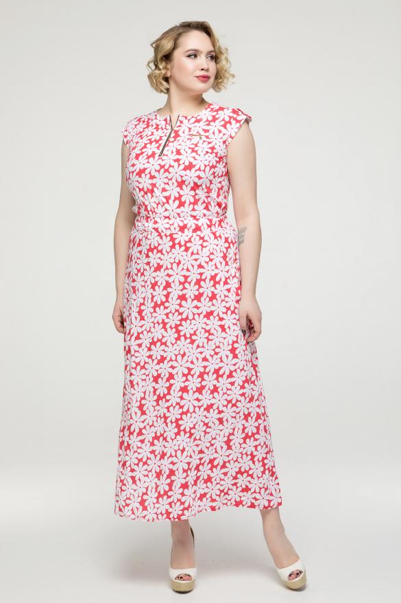 Платье коралловое цветы Гербера