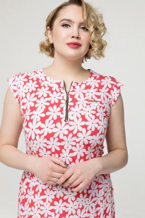 Платье коралловое цветы Гербера 2161