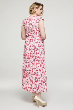 Платье коралловое цветы Гербера 2162
