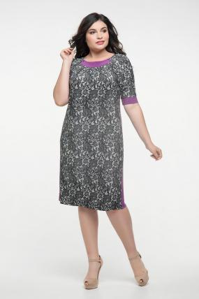 Платье серый принт сирень Иванна