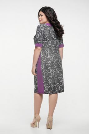 Платье серый принт сирень Иванна 2325