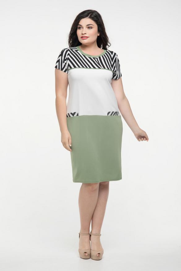 Сукня оливка з білим Алісія