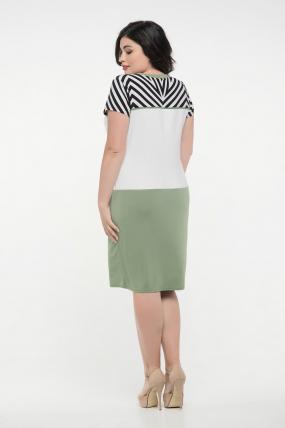 Сукня оливка з білим Алісія 2351