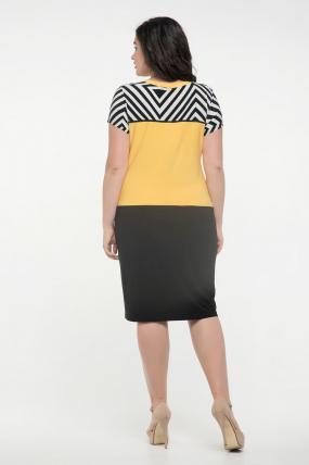 Платье черное с желтым Алисия 2353