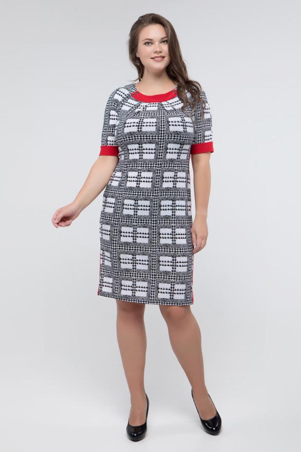 Платье черно-белый принт красный Иванна