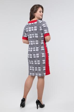 Платье черно-белый принт красный Иванна 2413