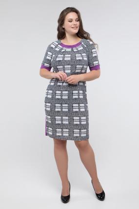 Платье черно-белый принт сирень Иванна 2414