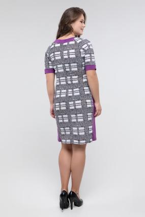 Платье черно-белый принт сирень Иванна 2415