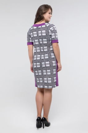 Сукня чорно-білий принт бузок Іванна 2415