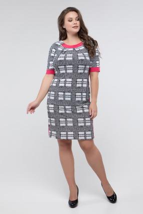Сукня чорно-білий принт корал Іванна 2416