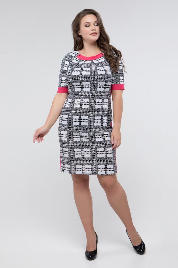 Платье черно-белый принт коралл Иванна