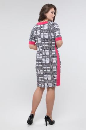 Платье черно-белый принт коралл Иванна 2417