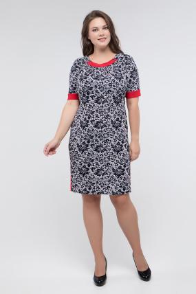 Платье т.синий принт красный Иванна