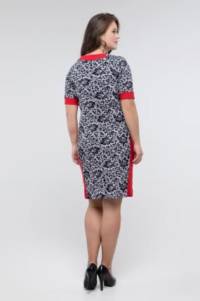 Платье т.синий принт красный Иванна 2423
