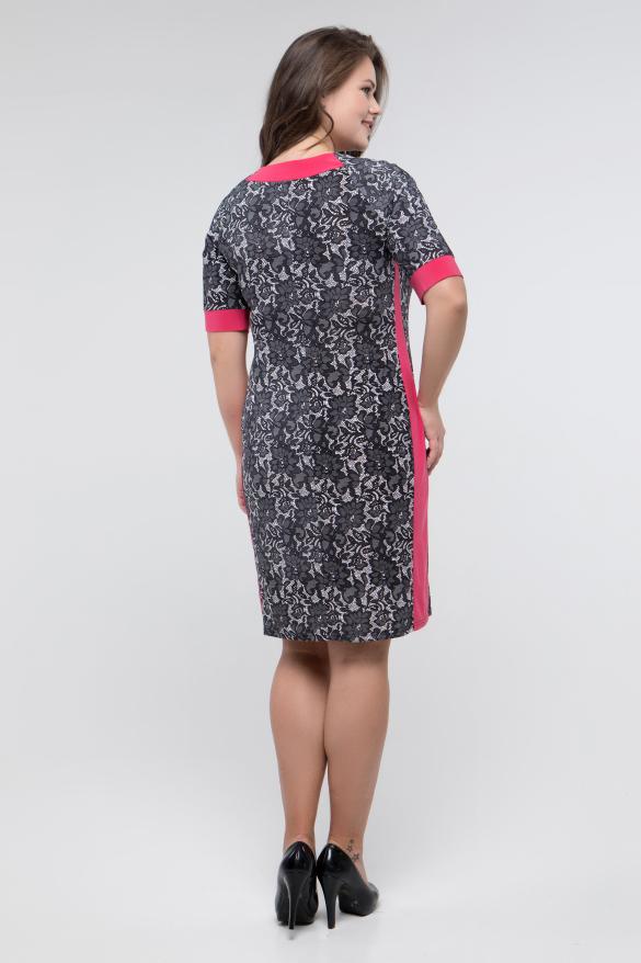 Платье серый принт коралл Иванна