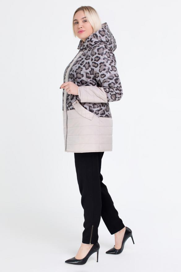 Куртка темний леопард молоко В 777