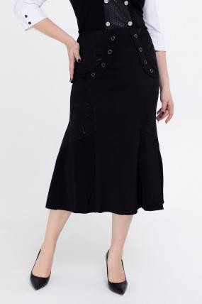 Юбка Грета черный с цветочным принтом 2557