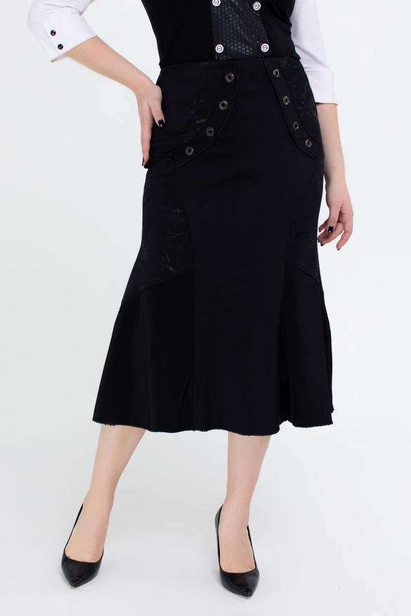Юбка Грета черный с цветочным принтом