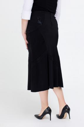 Спідниця Грета чорний з квітковим принтом 2558