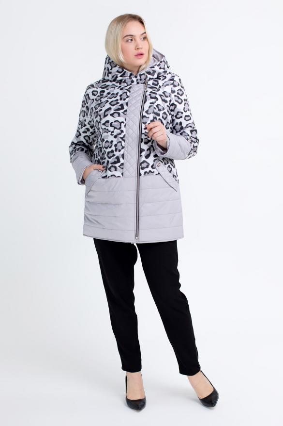 Куртка світлий леопард бузкова В 777