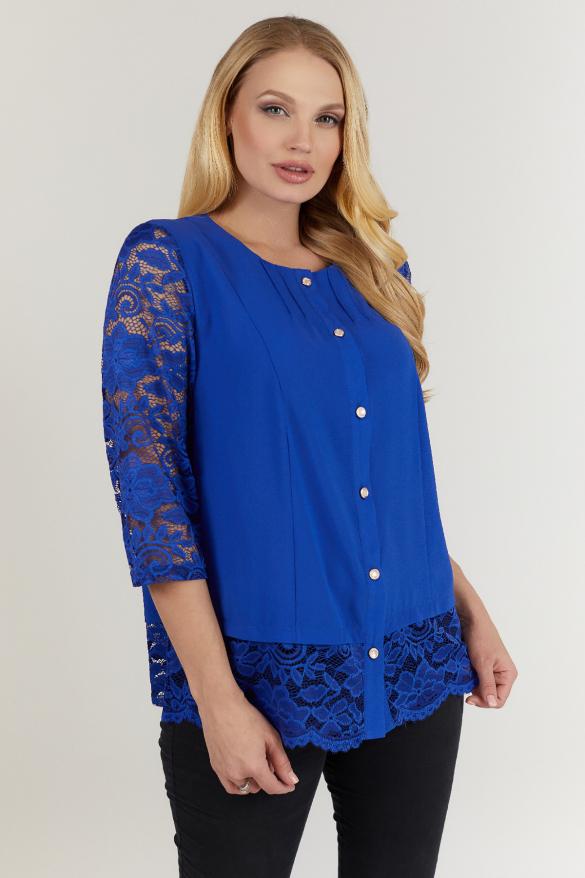 Блуза синяя Троянда