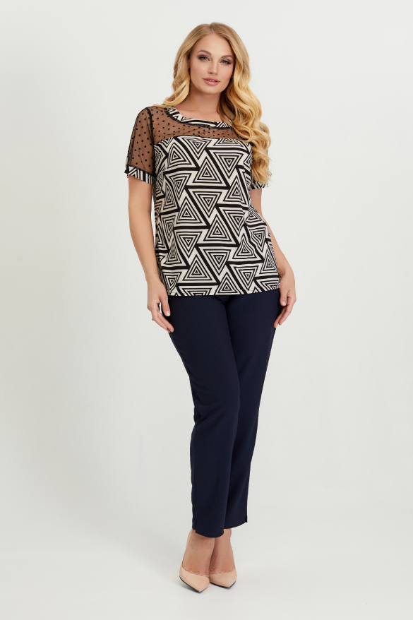 Блуза бежево-чорна Люся