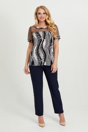 Блуза черно-белая Люся 2769