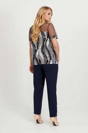 Блуза черно-белая Люся 2770