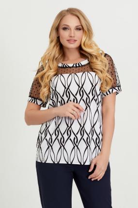 Блуза бело-черная Люся 2774