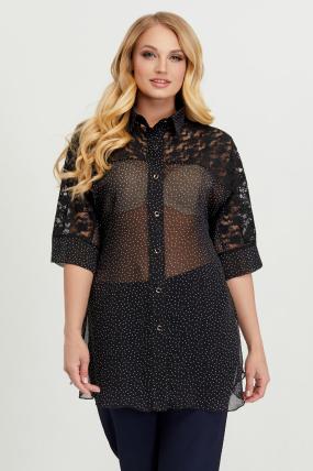 Блуза Поллі чорний горох 2780