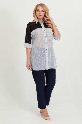 Блуза Поллі білий горох 2787