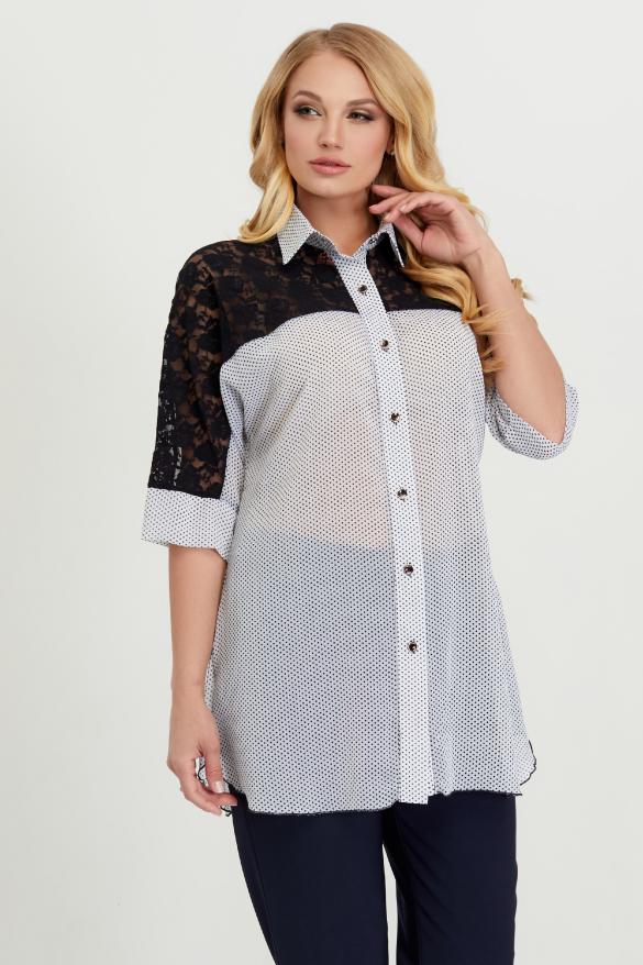 Блуза Поллі білий горох