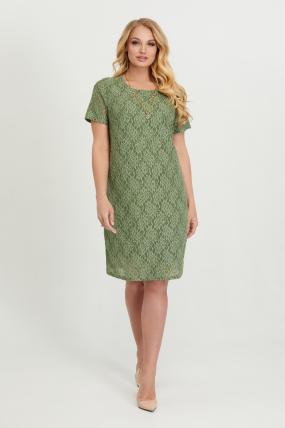 Платье Айза оливковое гипюр