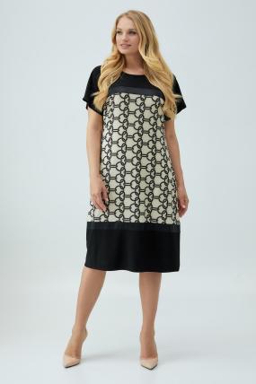 Платье Эльза бежево-черное