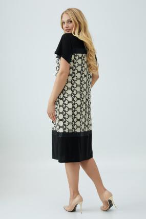 Сукня Ельза бежево-чорна 2851