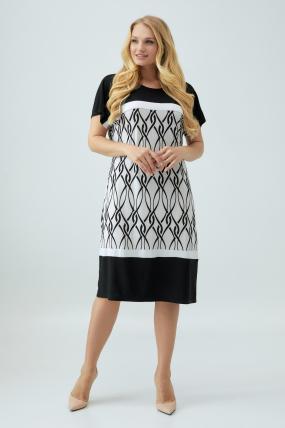 Платье Эльза бело-черное