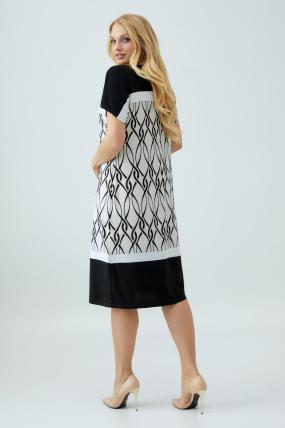 Платье Эльза бело-черное 2853